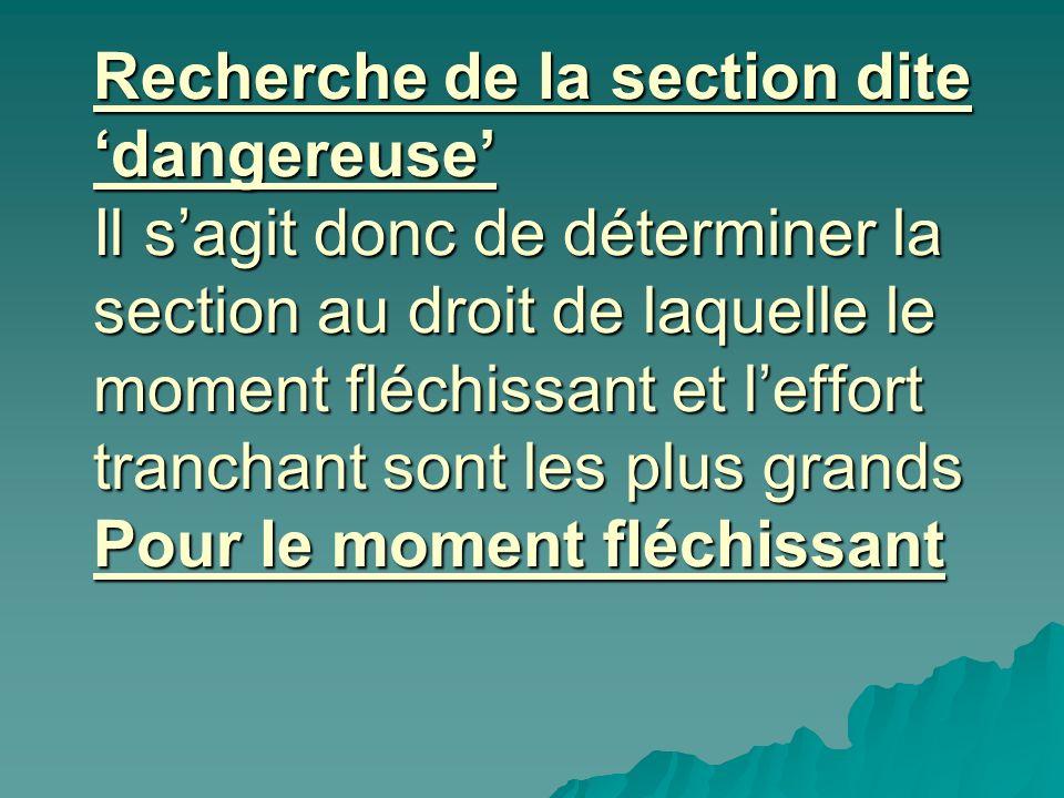 Recherche de la section dite dangereuse Il sagit donc de déterminer la section au droit de laquelle le moment fléchissant et leffort tranchant sont le