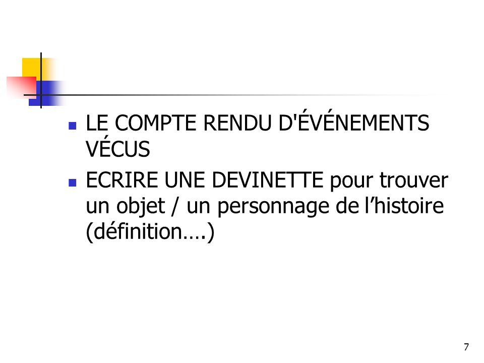 7 LE COMPTE RENDU D ÉVÉNEMENTS VÉCUS ECRIRE UNE DEVINETTE pour trouver un objet / un personnage de lhistoire (définition….)