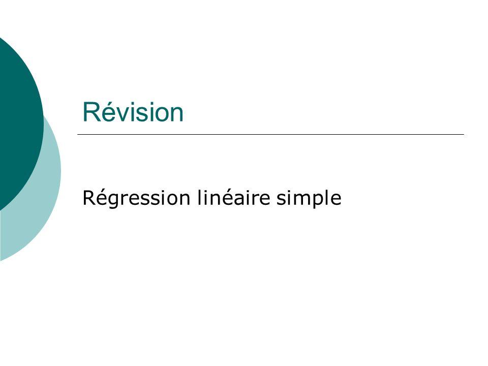 Révision Régression linéaire simple