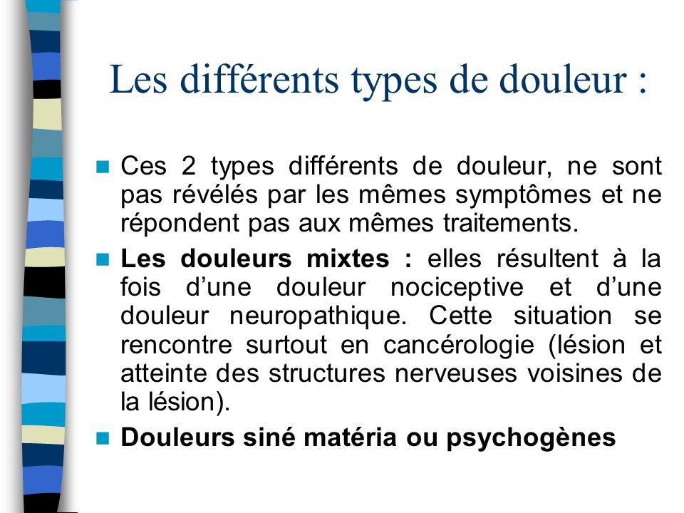 Les différents types de douleur : Ces 2 types différents de douleur, ne sont pas révélés par les mêmes symptômes et ne répondent pas aux mêmes traitem