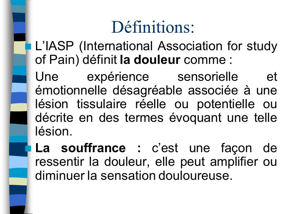 Définitions: LIASP (International Association for study of Pain) définit la douleur comme : Une expérience sensorielle et émotionnelle désagréable ass