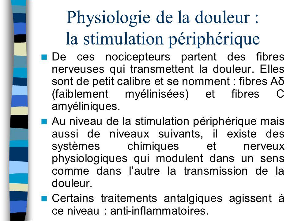Physiologie de la douleur : la stimulation périphérique De ces nocicepteurs partent des fibres nerveuses qui transmettent la douleur. Elles sont de pe