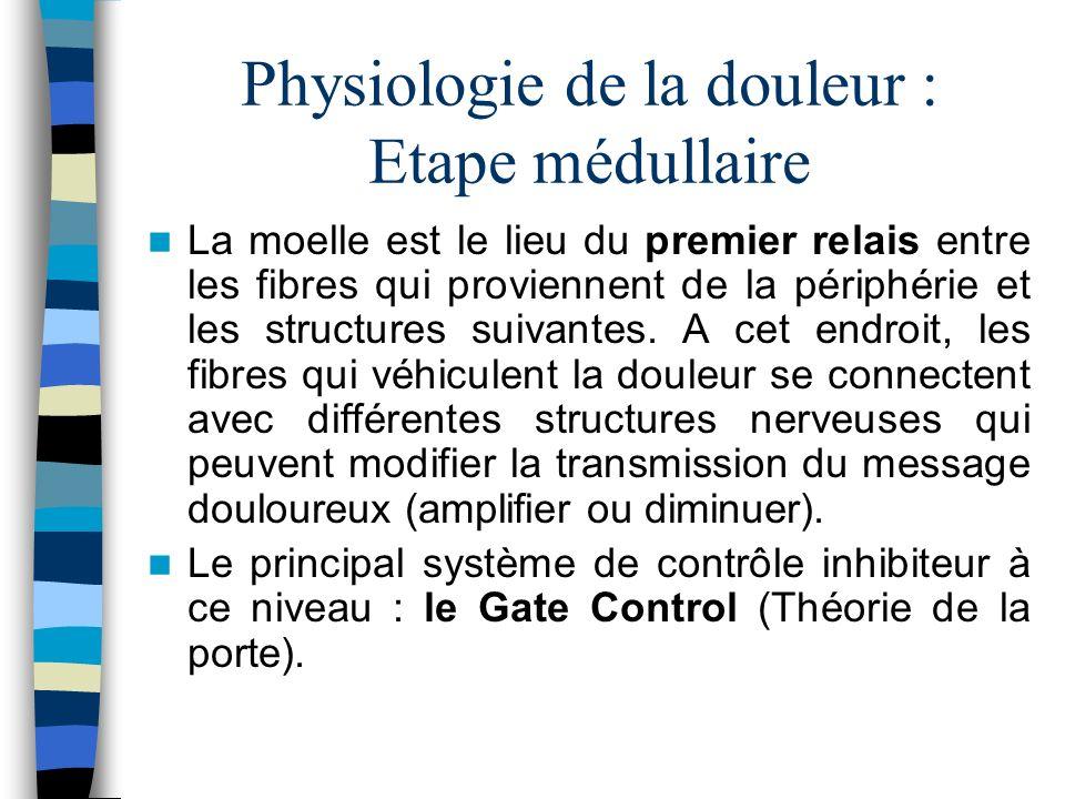 Physiologie de la douleur : Etape médullaire La moelle est le lieu du premier relais entre les fibres qui proviennent de la périphérie et les structur