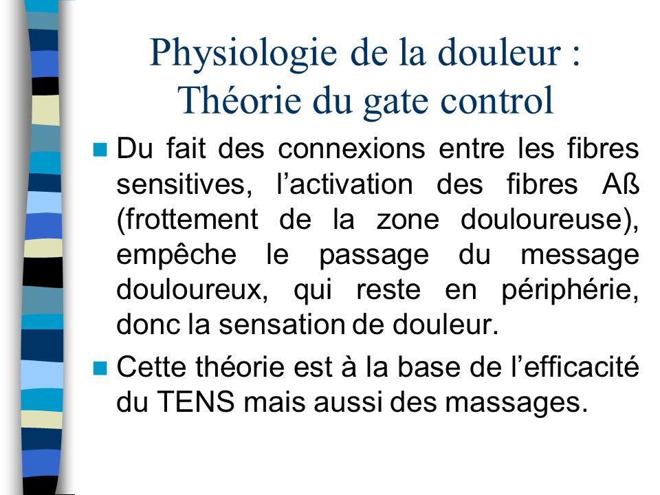 Physiologie de la douleur : Théorie du gate control Du fait des connexions entre les fibres sensitives, lactivation des fibres Aß (frottement de la zo