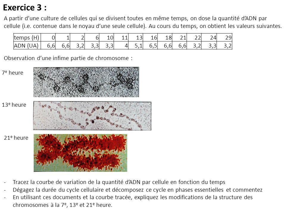 A partir dune culture de cellules qui se divisent toutes en même temps, on dose la quantité dADN par cellule (i.e. contenue dans le noyau dune seule c