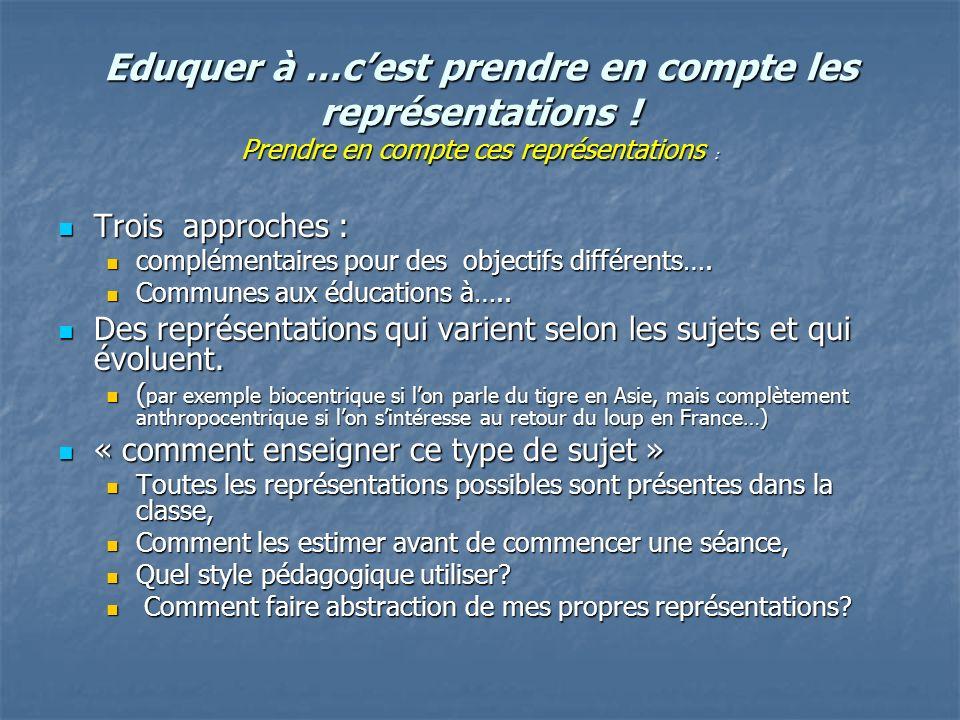 Eduquer à …cest prendre en compte les représentations ! Prendre en compte ces représentations : Trois approches : Trois approches : complémentaires po