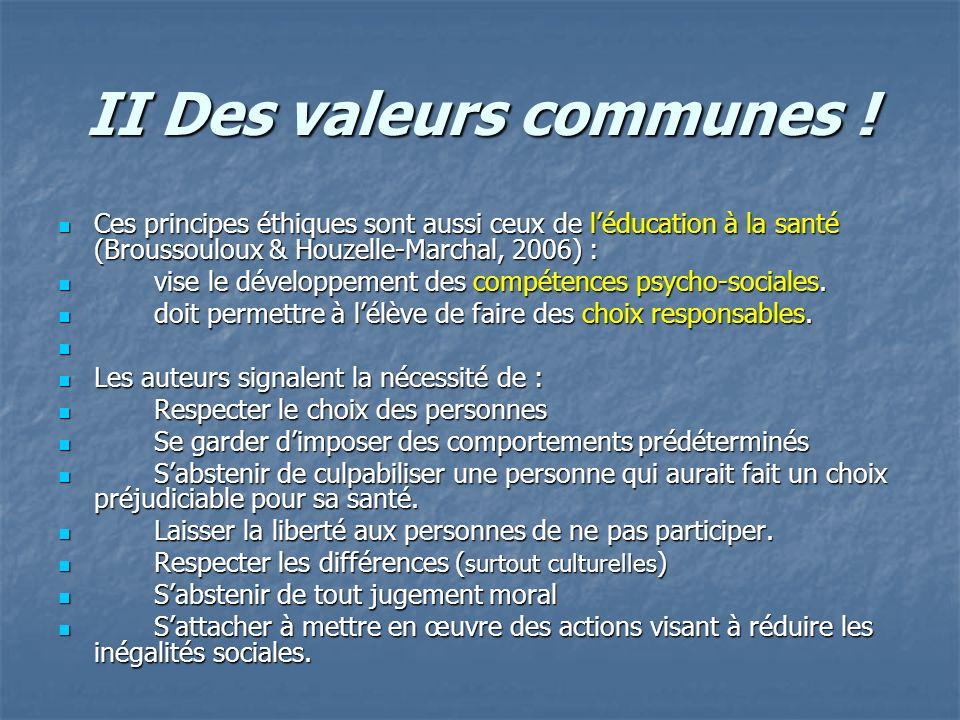 II Des valeurs communes ! Ces principes éthiques sont aussi ceux de léducation à la santé (Broussouloux & Houzelle-Marchal, 2006) : Ces principes éthi