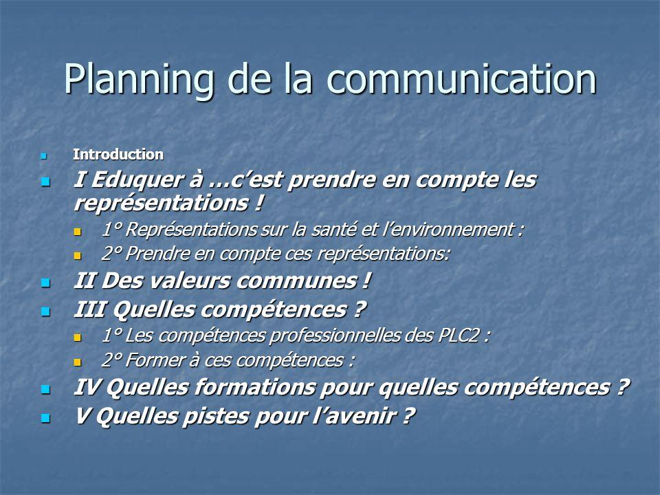 Planning de la communication Introduction Introduction I Eduquer à …cest prendre en compte les représentations ! I Eduquer à …cest prendre en compte l