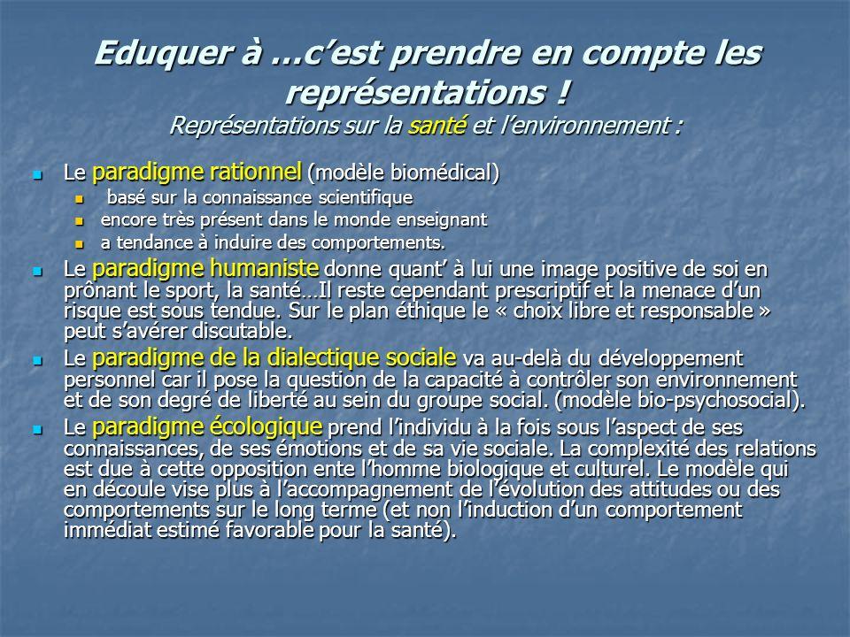 Eduquer à …cest prendre en compte les représentations ! Représentations sur la santé et lenvironnement : Le paradigme rationnel (modèle biomédical) Le