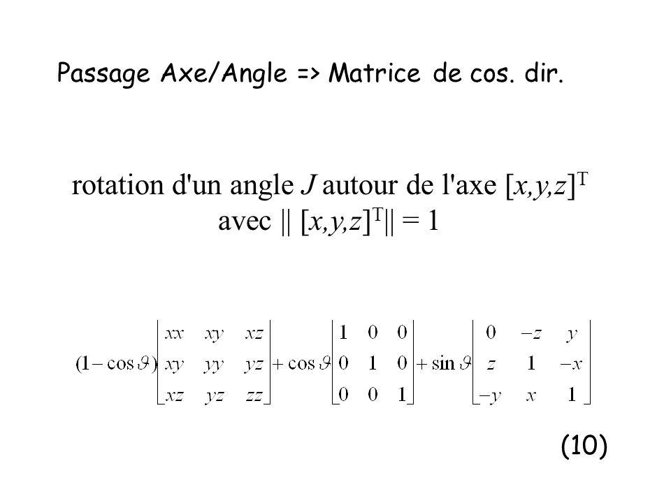 Passage Axe/Angle => Matrice de cos. dir. (10) rotation d'un angle J autour de l'axe [x,y,z] T avec || [x,y,z] T || = 1