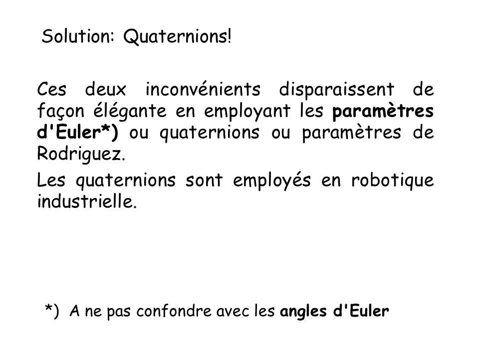 Solution: Quaternions! Ces deux inconvénients disparaissent de façon élégante en employant les paramètres d'Euler*) ou quaternions ou paramètres de Ro