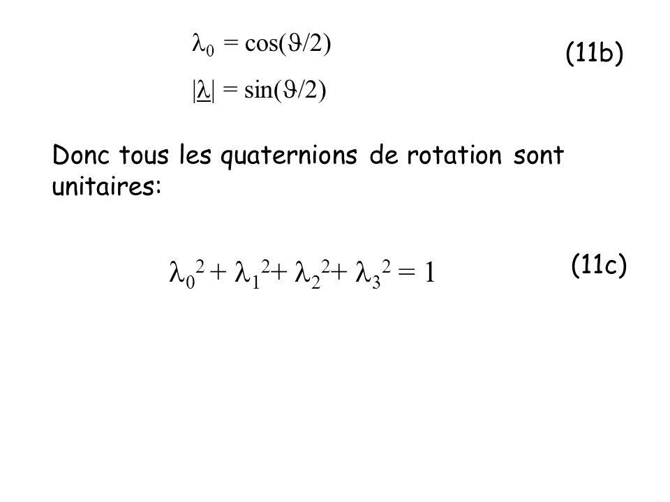 Donc tous les quaternions de rotation sont unitaires: 0 = cos( /2) | | = sin( /2) 0 2 + 1 2 + 2 2 + 2 = 1 (11b) (11c)