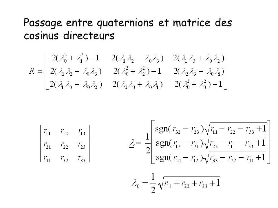 Passage entre quaternions et matrice des cosinus directeurs