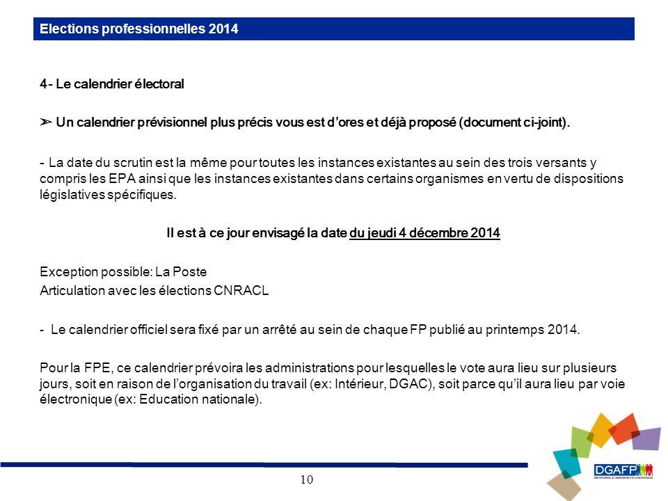 10 Elections professionnelles 2014 4- Le calendrier électoral Un calendrier prévisionnel plus précis vous est dores et déjà proposé (document ci-joint