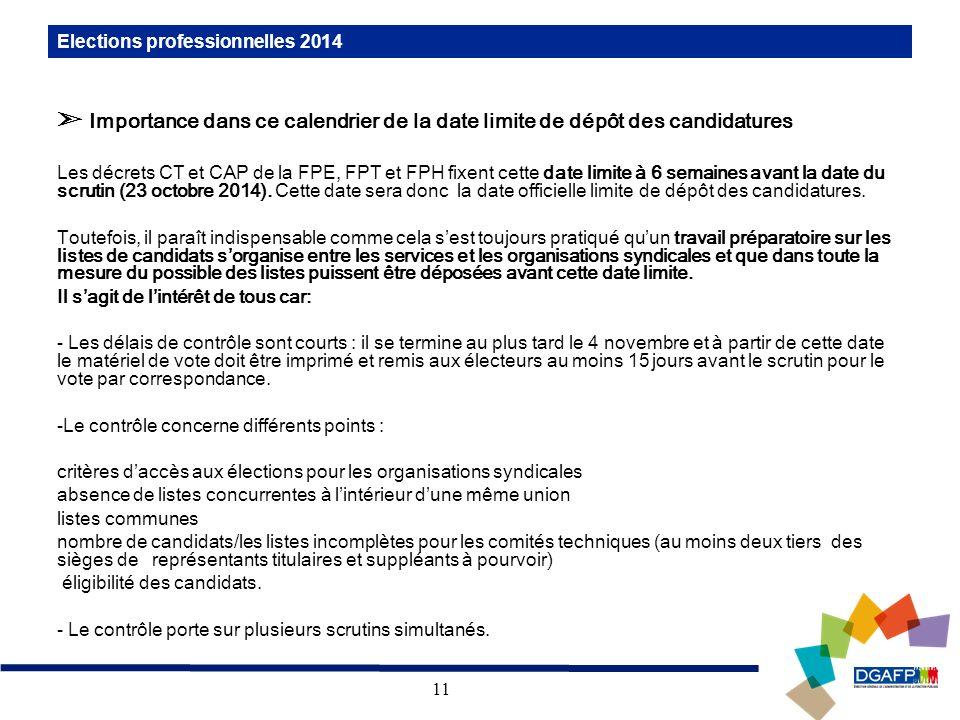 11 Elections professionnelles 2014 Importance dans ce calendrier de la date limite de dépôt des candidatures Les décrets CT et CAP de la FPE, FPT et F