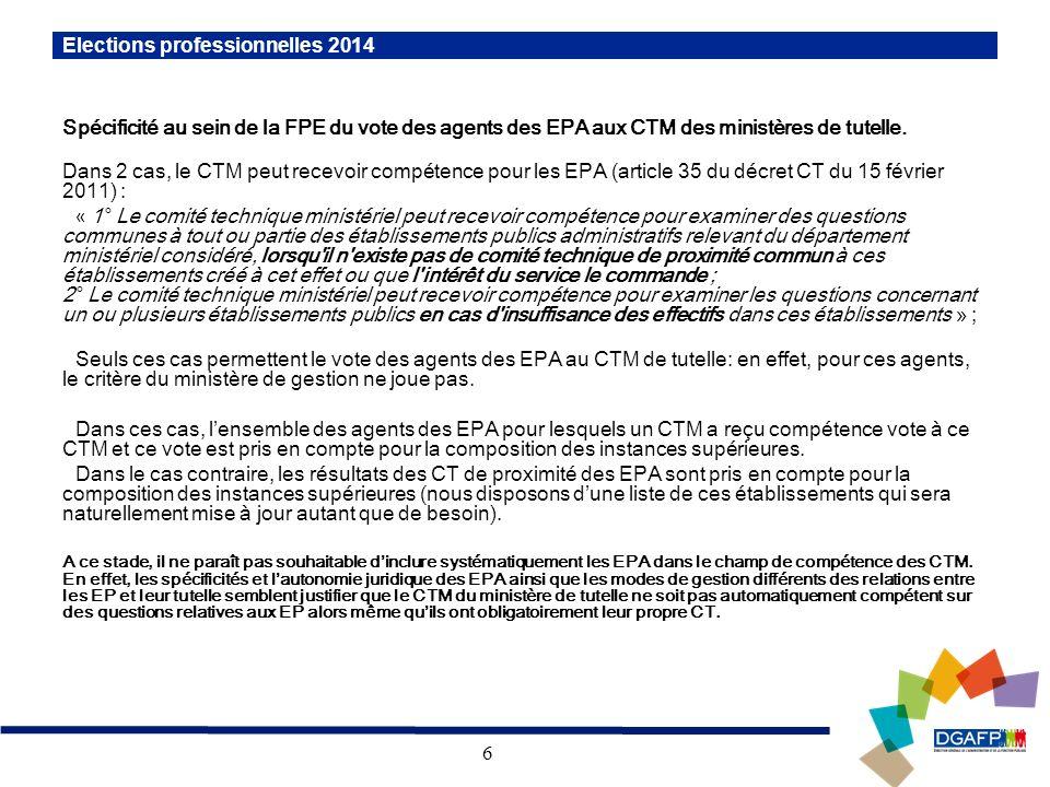 6 Spécificité au sein de la FPE du vote des agents des EPA aux CTM des ministères de tutelle. Dans 2 cas, le CTM peut recevoir compétence pour les EPA