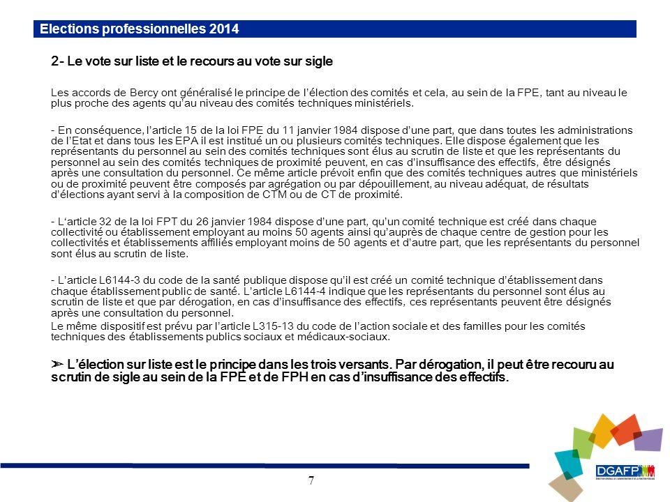 7 2- Le vote sur liste et le recours au vote sur sigle Les accords de Bercy ont généralisé le principe de lélection des comités et cela, au sein de la