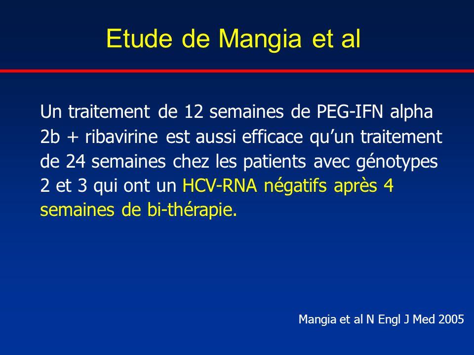 Etude de Mangia et al Un traitement de 12 semaines de PEG-IFN alpha 2b + ribavirine est aussi efficace quun traitement de 24 semaines chez les patient