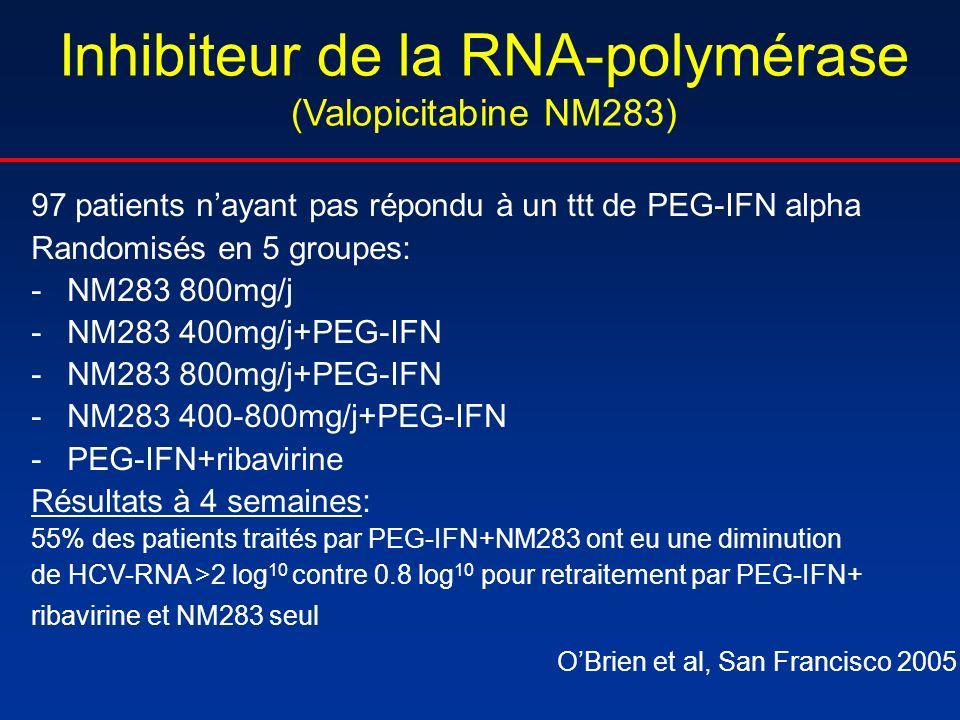 Inhibiteur de la RNA-polymérase (Valopicitabine NM283) 97 patients nayant pas répondu à un ttt de PEG-IFN alpha Randomisés en 5 groupes: -NM283 800mg/