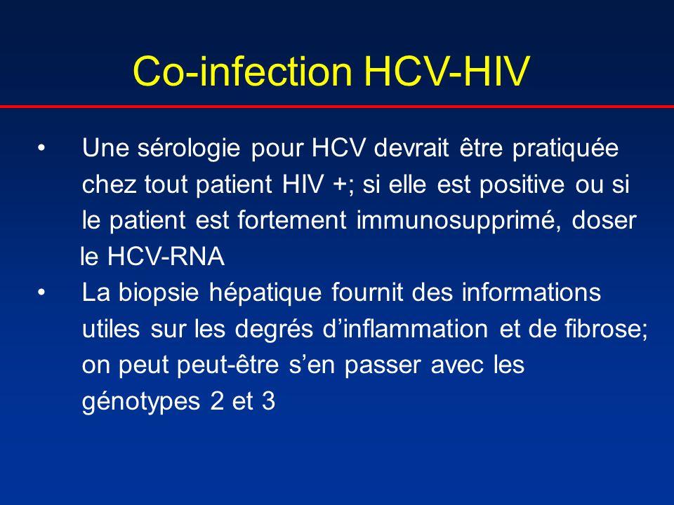 Co-infection HCV-HIV Une sérologie pour HCV devrait être pratiquée chez tout patient HIV +; si elle est positive ou si le patient est fortement immuno