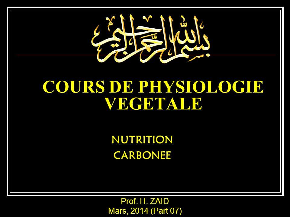COURS DE PHYSIOLOGIE VEGETALE NUTRITION CARBONEE Prof. H. ZAID Mars, 2014 (Part 07)