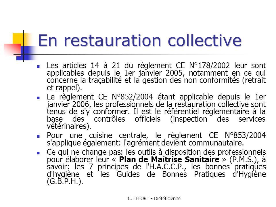 C. LEFORT - Diététicienne En restauration collective Les articles 14 à 21 du règlement CE N°178/2002 leur sont applicables depuis le 1er janvier 2005,