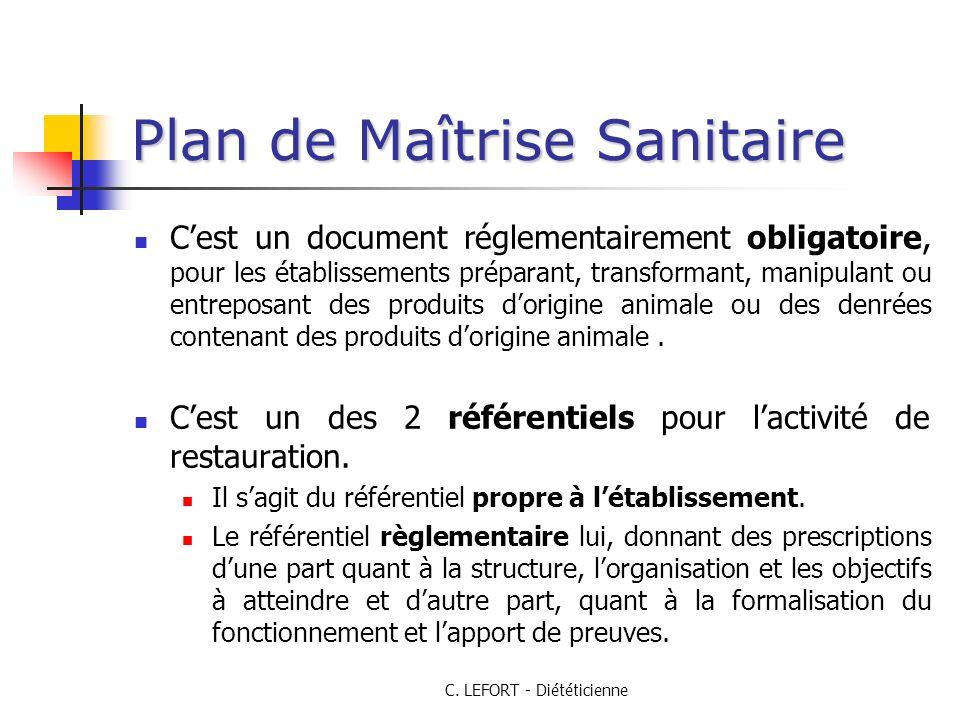 C. LEFORT - Diététicienne Plan de Maîtrise Sanitaire Cest un document réglementairement obligatoire, pour les établissements préparant, transformant,