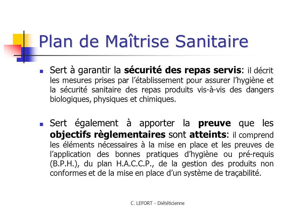 C. LEFORT - Diététicienne Plan de Maîtrise Sanitaire Sert à garantir la sécurité des repas servis: il décrit les mesures prises par létablissement pou