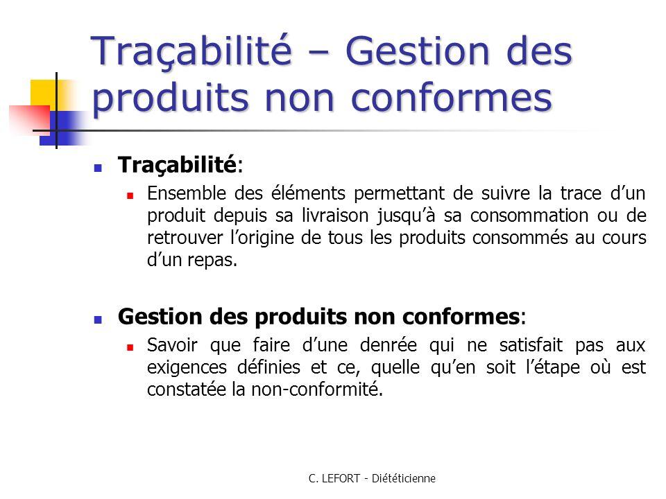 C. LEFORT - Diététicienne Traçabilité – Gestion des produits non conformes Traçabilité: Ensemble des éléments permettant de suivre la trace dun produi