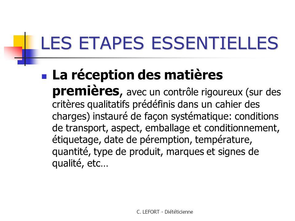 C. LEFORT - Diététicienne LES ETAPES ESSENTIELLES La réception des matières premières, avec un contrôle rigoureux (sur des critères qualitatifs prédéf