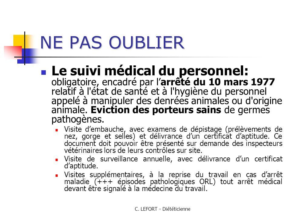 C. LEFORT - Diététicienne NE PAS OUBLIER Le suivi médical du personnel: obligatoire, encadré par larrêté du 10 mars 1977 relatif à l'état de santé et
