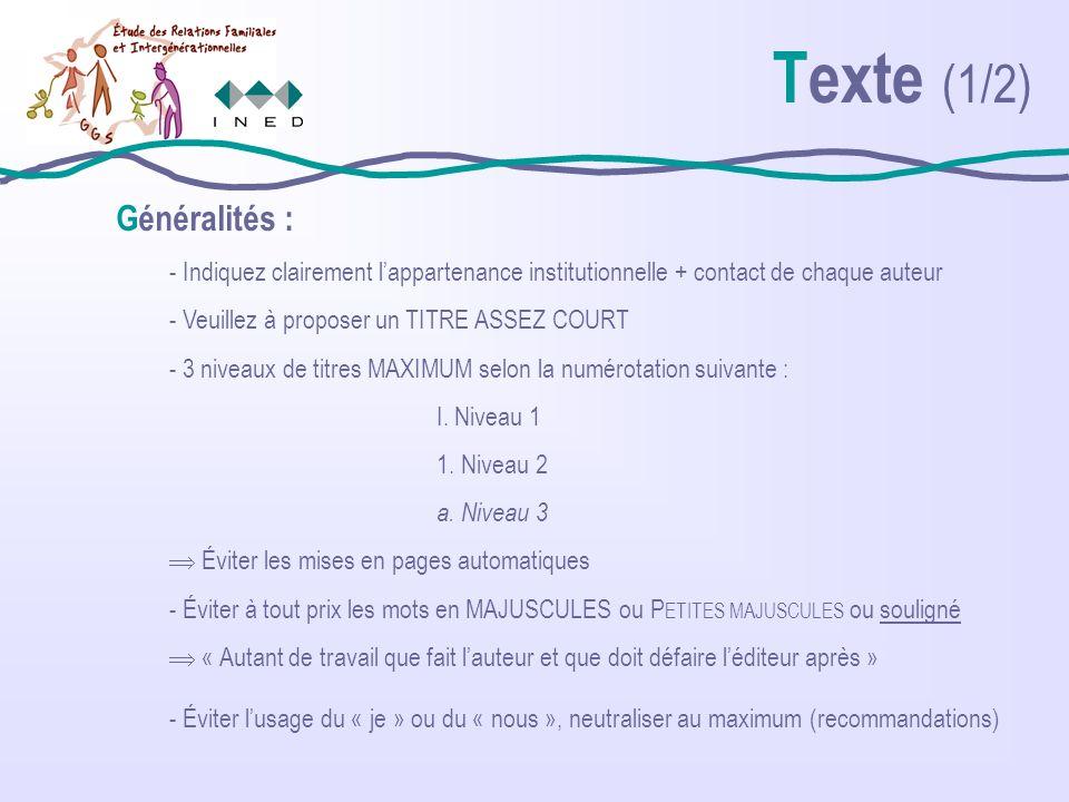 Texte (2/2) Citations : - Pas de citation en italique mais entre « » - Pas de citation in english (traduire impérativement) - Italique uniquement pour les locutions et termes étrangers Chiffres : - Pour les valeurs, un chiffre après la virgule - Utiliser la virgule et non le point ( 5,6 et non 5.6) - Écrire en chiffres les âges (15 ans), les quantités (2 femmes sur 3), les durées (2 heures), les décennies (« les années 1980 » et non « les années 80 ») - les siècles toujours en romains : (XVII e siècle) - attention à la mention « siècle dernier » (beaucoup de confusions…)