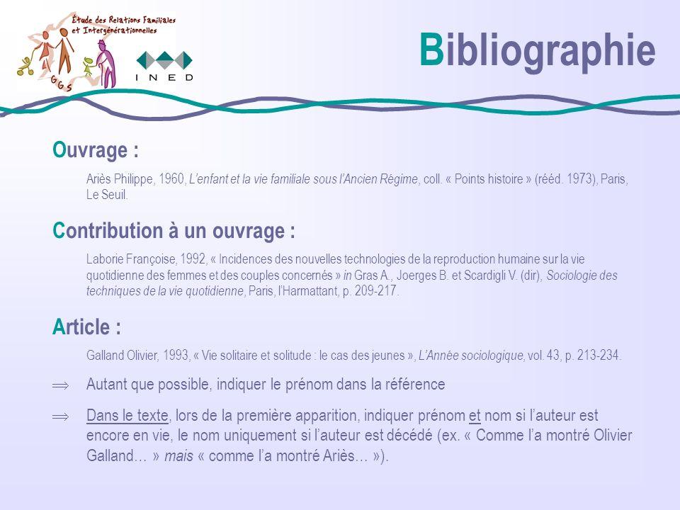 Bibliographie Ouvrage : Ariès Philippe, 1960, Lenfant et la vie familiale sous lAncien Régime, coll.