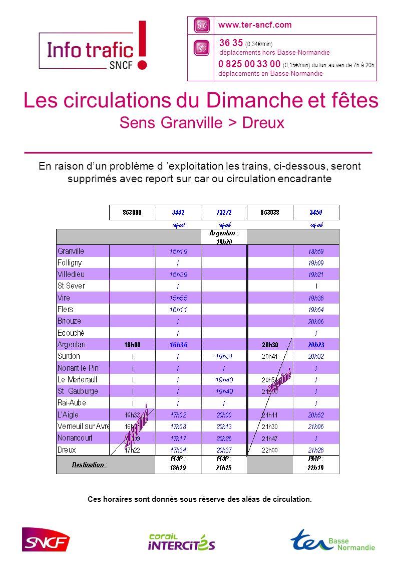 www.ter-sncf.com 36 35 (0,34/min) déplacements hors Basse-Normandie 0 825 00 33 00 (0,15/min) du lun au ven de 7h à 20h déplacements en Basse-Normandie Ces horaires sont donnés sous réserve des aléas de circulation.