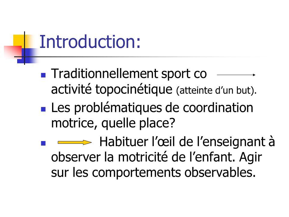 Introduction: Traditionnellement sport co activité topocinétique (atteinte dun but). Les problématiques de coordination motrice, quelle place? Habitue