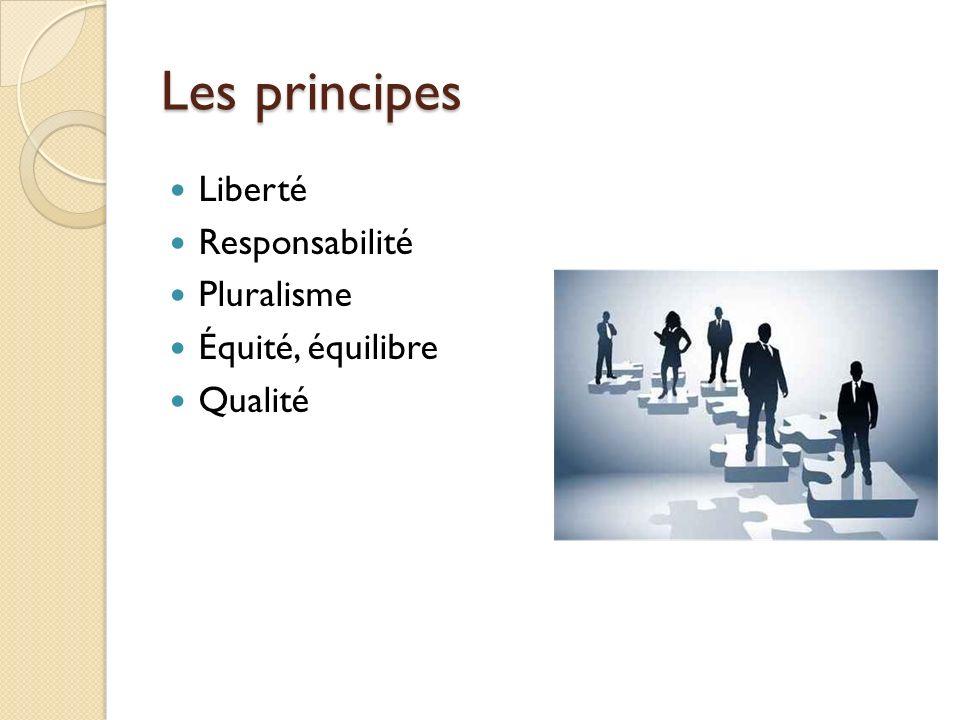 Les principes Liberté Responsabilité Pluralisme Équité, équilibre Qualité