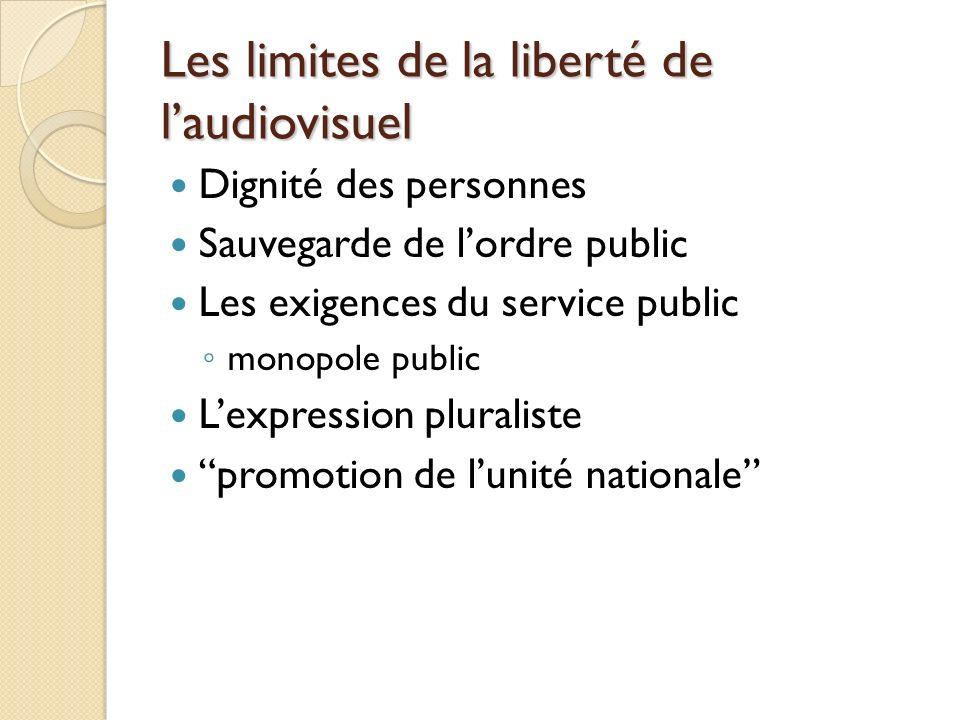 Les limites de la liberté de laudiovisuel Dignité des personnes Sauvegarde de lordre public Les exigences du service public monopole public Lexpression pluraliste promotion de lunité nationale