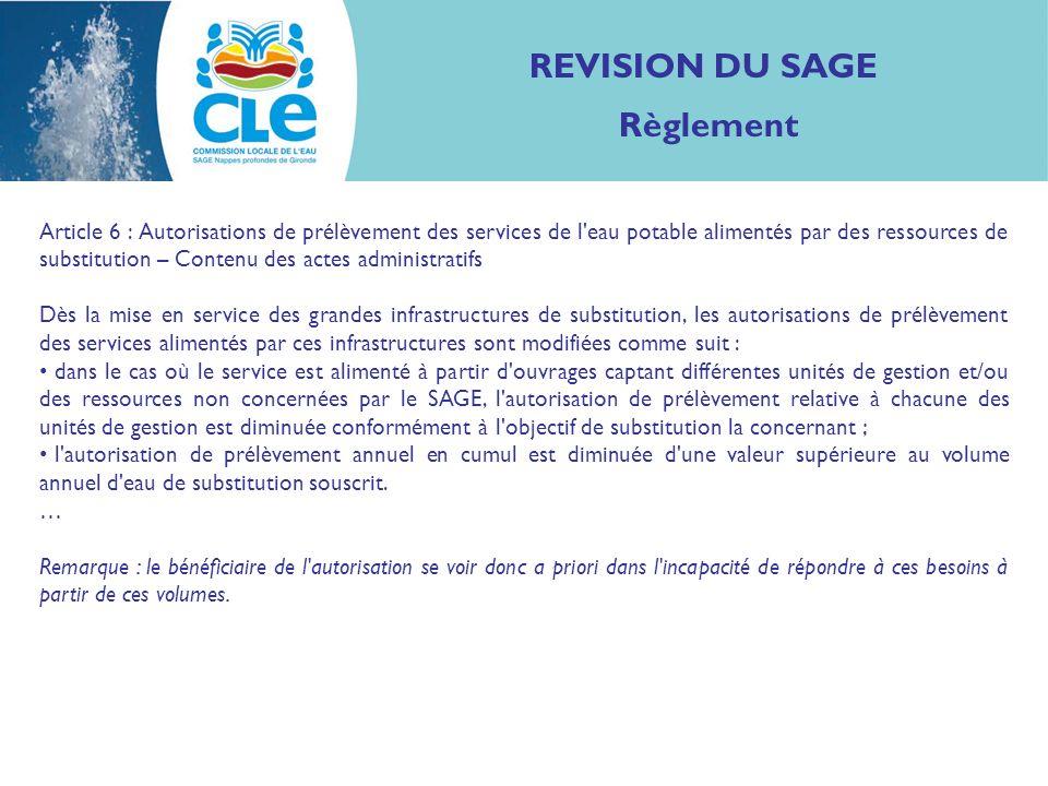 REVISION DU SAGE Règlement Article 6 : Autorisations de prélèvement des services de l eau potable alimentés par des ressources de substitution – Contenu des actes administratifs...