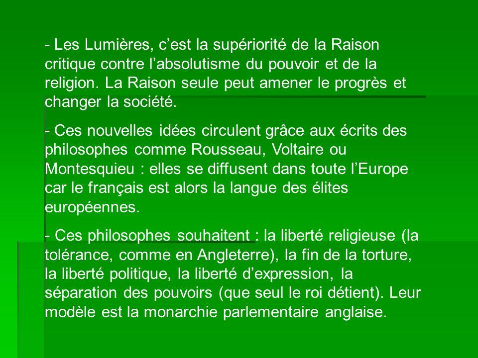- Les Lumières, cest la supériorité de la Raison critique contre labsolutisme du pouvoir et de la religion. La Raison seule peut amener le progrès et