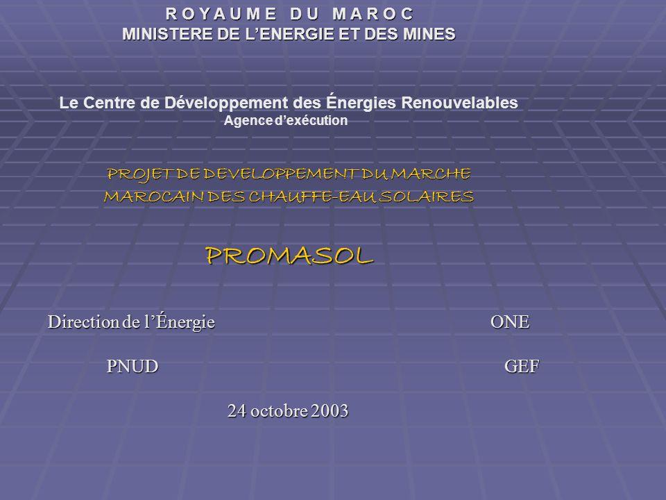 R O Y A U M E D U M A R O C MINISTERE DE LENERGIE ET DES MINES Le Centre de Développement des Énergies Renouvelables Agence dexécution PROJET DE DEVEL