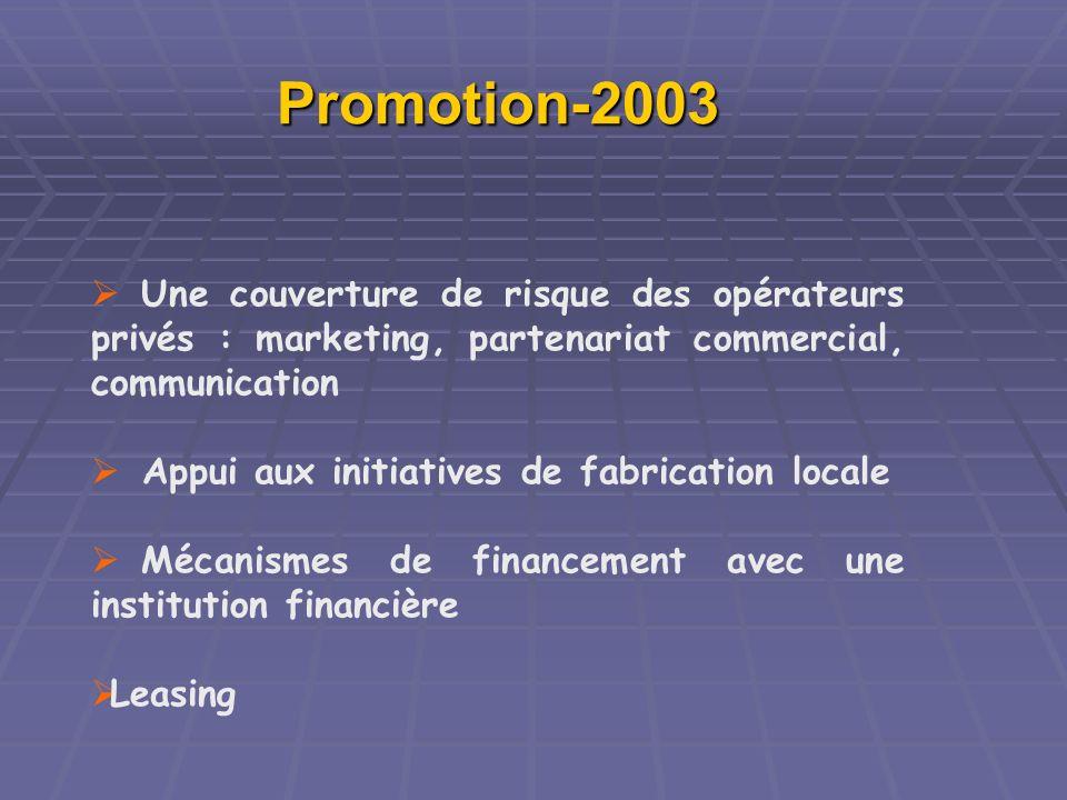 Promotion-2003 Une couverture de risque des opérateurs privés : marketing, partenariat commercial, communication Appui aux initiatives de fabrication