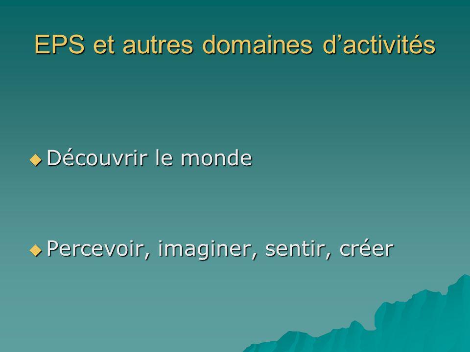 EPS et autres domaines dactivités Découvrir le monde Découvrir le monde Percevoir, imaginer, sentir, créer Percevoir, imaginer, sentir, créer