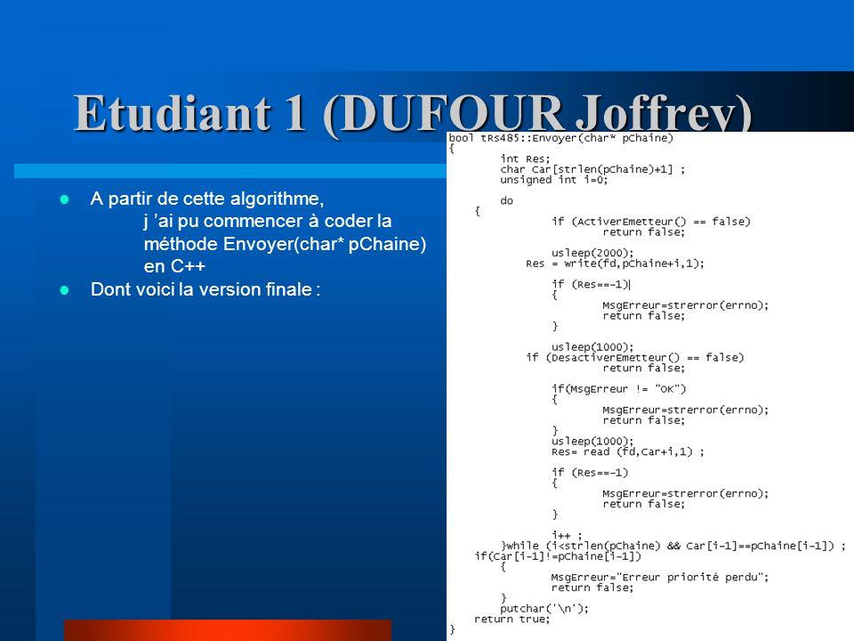 A partir de cette algorithme, j ai pu commencer à coder la méthode Envoyer(char* pChaine) en C++ Dont voici la version finale :