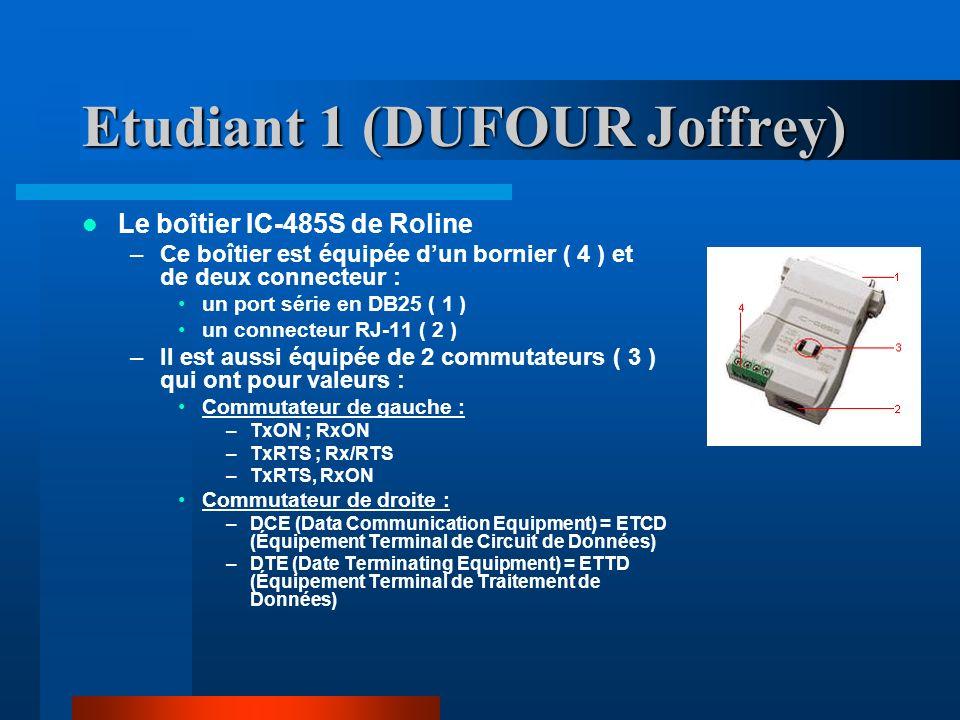 Etudiant 1 (DUFOUR Joffrey) Le boîtier IC-485S de Roline –Ce boîtier est équipée dun bornier ( 4 ) et de deux connecteur : un port série en DB25 ( 1 ) un connecteur RJ-11 ( 2 ) –Il est aussi équipée de 2 commutateurs ( 3 ) qui ont pour valeurs : Commutateur de gauche : –TxON ; RxON –TxRTS ; Rx/RTS –TxRTS, RxON Commutateur de droite : –DCE (Data Communication Equipment) = ETCD (Équipement Terminal de Circuit de Données) –DTE (Date Terminating Equipment) = ETTD (Équipement Terminal de Traitement de Données)