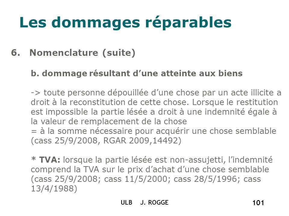 ULB J. ROGGE 101 Les dommages réparables 6. Nomenclature (suite) b. dommage résultant dune atteinte aux biens -> toute personne dépouillée dune chose