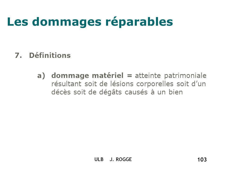 ULB J. ROGGE 103 Les dommages réparables 7. Définitions a)dommage matériel = atteinte patrimoniale résultant soit de lésions corporelles soit dun décè