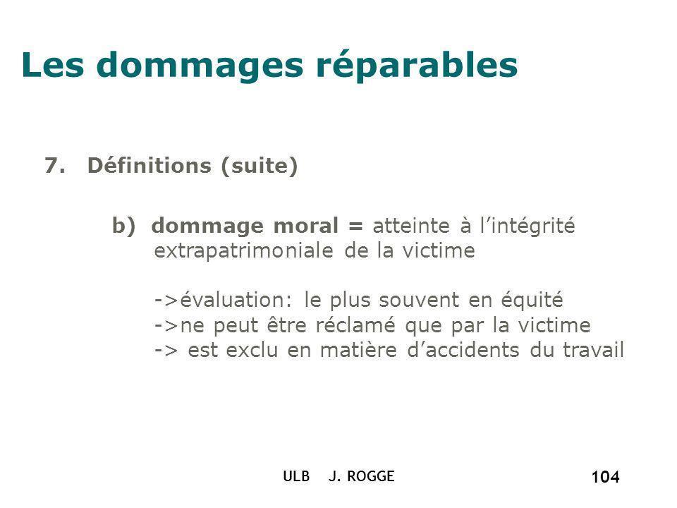 ULB J. ROGGE 104 Les dommages réparables 7. Définitions (suite) b) dommage moral = atteinte à lintégrité extrapatrimoniale de la victime ->évaluation: