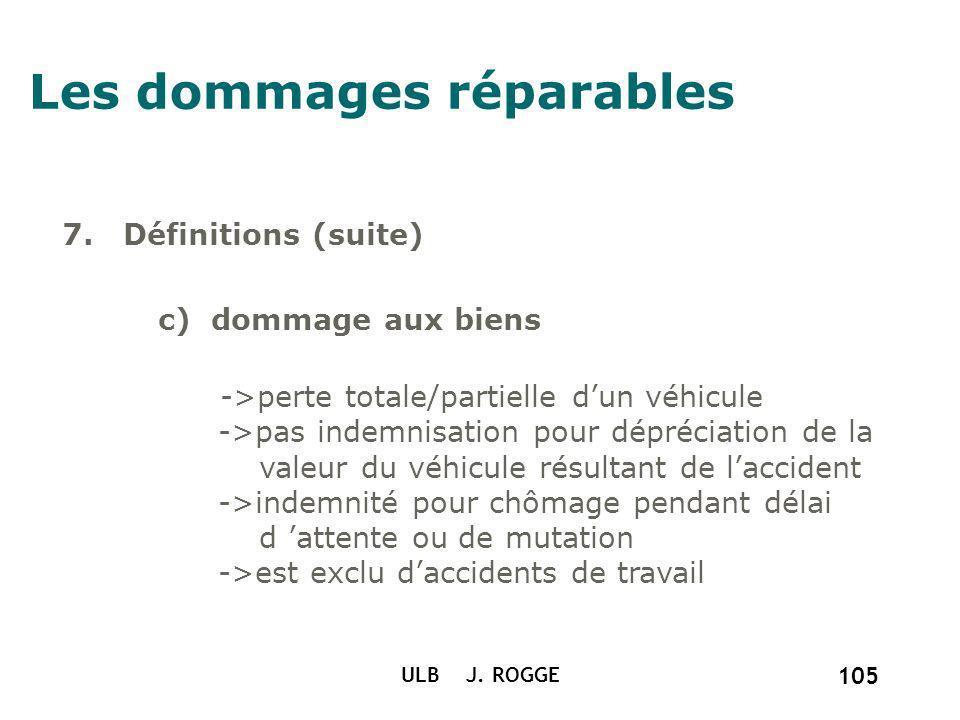 ULB J. ROGGE 105 Les dommages réparables 7. Définitions (suite) c) dommage aux biens ->perte totale/partielle dun véhicule ->pas indemnisation pour dé