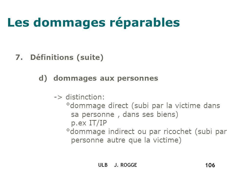 ULB J. ROGGE 106 Les dommages réparables 7. Définitions (suite) d)dommages aux personnes -> distinction: °dommage direct (subi par la victime dans sa