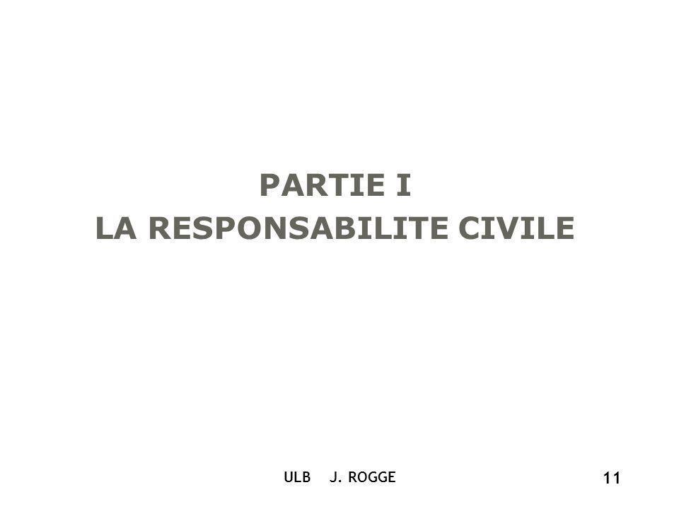 ULB J. ROGGE 11 PARTIE I LA RESPONSABILITE CIVILE